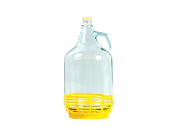 ДАМАДЖАНА+5Л+стъкло+с+жълта+плетка